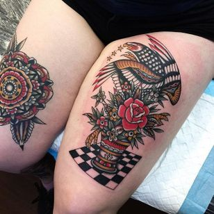 A pair of awesome traditional tattoos from Tommy Doom's portfolio (IG—tommydoom). #eagle #mandala #TommyDoom #traditional