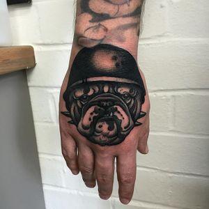 Bulldog Hand Tattoo by Mitchell Allenden #bulldog #bulldogtattoo #neotraditionalbulldog #hand #handtattoo #handtattoos #neotraditionalhandtattoo #neotraditional #neotraditionaltattoo #neotraditionaltattoos #MitchellAllenden