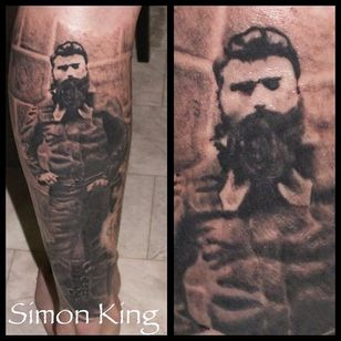 Ned Kelly Tattoo by Simon King #NedKelly #NedKellyTattoo #OutlawTattoo #FolkloreTattoos #AustralianTattoos #SimonKing