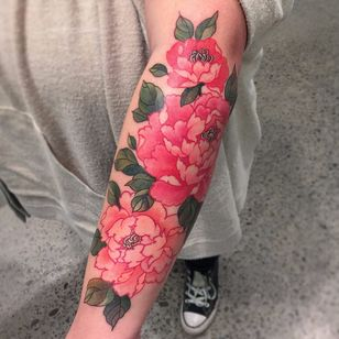 Pink peonies by CJ #pinkink #cj #Japanese #neotraditional #mashup #color #peonies #flowers #leaves #nature #tattoooftheday