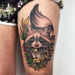 Raccoon tattoo by Ma Reeni #MaReeni #neotraditional #animal #nature #raccoon