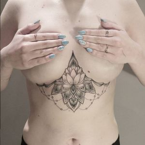 Delicate underboob flower tattoo #JuliaMikhaylova #blackwork #delicate #fineline #underboob