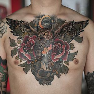Owl chestpiece tattoo by Swan. #Swan #SwanTattooer #neotraditional #neotrad #owl #skull #rose #dragger