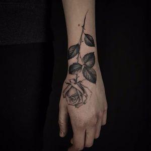 Charming rose tattoo by Ed Taemets #EdTaemets #blackandgrey #blackwork #rose