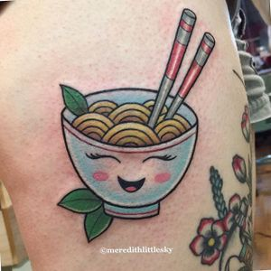 Happy little bowl by Meredith Little Sky. #cute #kawaii #traditioonal #pho #food #foodtattoo #MeredithLittleSky