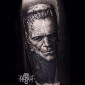 Frankenstein Tattoo by Javier Antunez @Tattooedtheory #JavierAntunez #Tattooedtheory #Blackandgrey #Realistic #Frankenstein