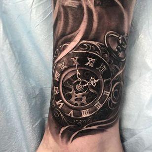 Black and grey pocket watch tattoo by Miguel Camarillo. #blackandgrey #realism #MiguelCamarillo #watch #pocketwatch #clock