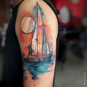 #RenataHenriques #RehTattoo #brasil #brazil #brazilianartist #TatuadorasDoBrasil #aquarela #watercolor #sketch #colorido #colorful #barco #boat #agua #water #mar #ocean #sea