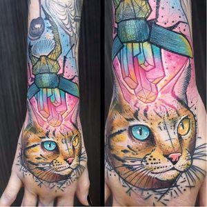 #Schwein #tatuadorgringo #coloridas #colorful #sketch #abstrata #abstract #gato #cat #cristais #crystals