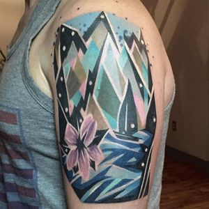 Geometric boat and mountain range tattoo by Karl Marks. #boat #water #flower #mountain #geometric #KarlMarks