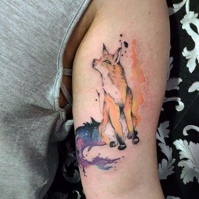 Raposinha! #MarianaSilva #MarianaLeãozinho #TatuadorasDoBrasil #raposa #fox #aquarela #watercolor #colorida #colorful