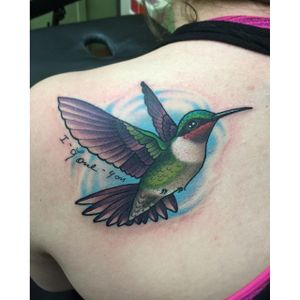 Hummingbird Tattoo by Katie McGowan #Traditional #BoldTattoos #ColorfulTattoos #Colorful #KatieMcGowan