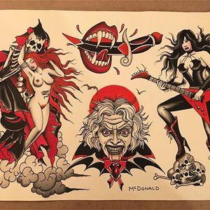 Sex, Dracula, and Rock and Roll by Shawn McDonald (via IG-mcdonaldmagnetic) #flash #flashfriday #traditional #ShawnMcDonald