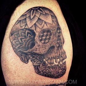 Decorative skull with Geometric details by Guy Waisman. #guywaisman #tattooartist #nyctattoo #lovehatesocialclub #skull #mandala #dotwork