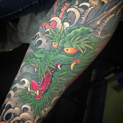 The classic horned dragon by Matt Beckerich #MattBeckerich #japanese #japanesetattoo #dragon #dragontattoo