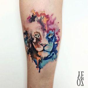 Beautiful watercolor lion #YelizÖzcan #fineline #watercolor #blackwork #animal #lion