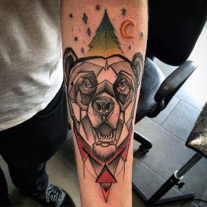 Bear tattoo by Szejn Szejnowski @szejno #bear #beartattoo #bearhead #geometric #graphic #SzejnSzejnowski