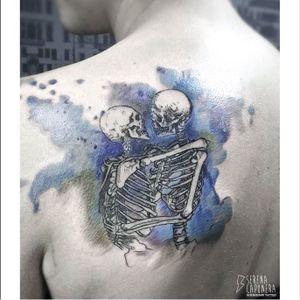 Watercolor tattoo by Serena Caponera #SerenaCaponera #illustrative #blackwork #sketch #graphic #watercolor #skeleton