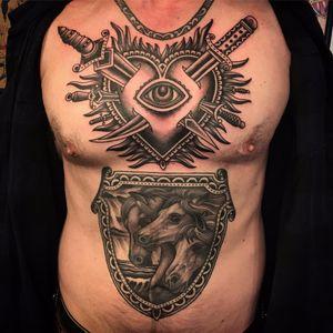 Stab the Sacred Heart by Bryan Randolph #BryanRandolph #blackwork #blackandgrey #traditional #realistic #sacredheart #swords #eye #valentine #flames #love #horses #tattoooftheday