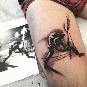 Paul Simonon tattoo by Dan Smith #DanSmith #paulsimonon #blackandgrey #portrait #theclash #guitar #musictattoo