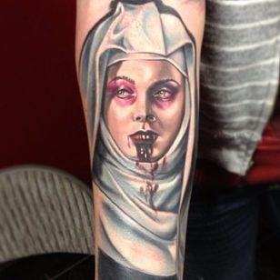 Bloodsucker nun portrait tattoo by Nick Hagan. #NickHagan #vampire #colorrealism #nun #scary #horrifying #creepy #macabre #portrait #horror #sinister #evil