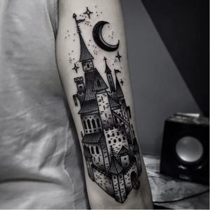 Castle tattoo by Andre Cast #AndreCast #blackwork #castle
