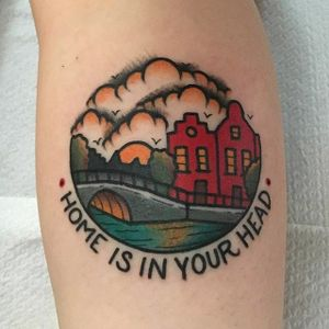 Traditional American style tattoo by Jeroen Van Dijk. #JeroenVanDijk #Amsterdam #traditionalamerican #traditional #home
