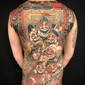 Backpiece tattoo by Kiku Punk #Kiku #kikupunk #cooltattoos #color #backpiece #Japanese #traditional #mashup #faces #portraits #banner #kanji #sword #dragon #crane #sun #koi #clouds #tattoooftheday