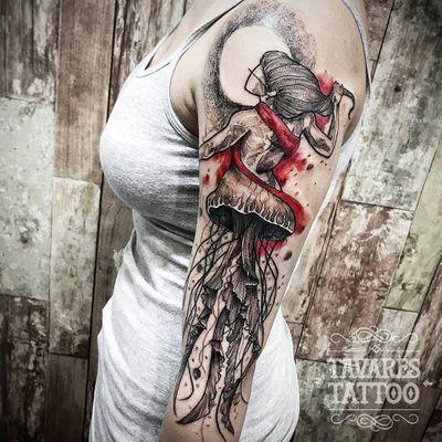 #JCTavares #brasil #brazil #brazilianartist #tatuadoresdobrasil #blackwork #pontilhismo #dotwork #sketch #aquarela #watercolor #aguaviva #jellyfish #woman #mulher
