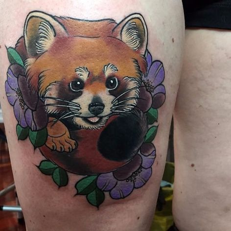 Adorable red panda and flower thigh piece. By Kitty Dearest #panda #redpanda #flower #KittyDearest #TheBlackMark