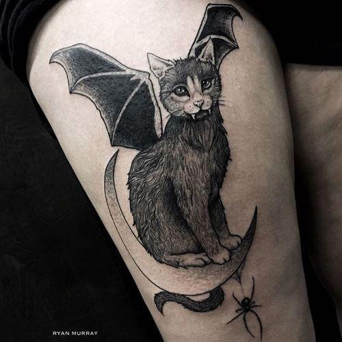 Bat cat by Ryan Murray (via IG-blackveiltattoo) #blackandgrey #halloween #spooky #macabre #bat #cat #RyanMurray #BlackVeilStudio
