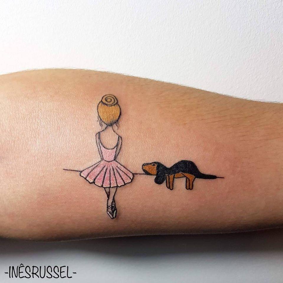 #InêsRussel #balé #ballet #dance #dança #ballettattoo #bailarina #balerina #girl #menina #dog #cao #cachorro #colorida #colorful