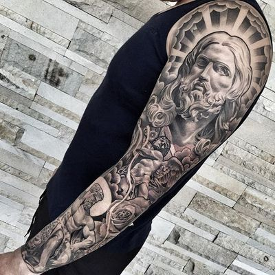 An immaculate illustration of christ and other Christian imagery by Lil B (IG—lilbtattoo). #Adam #angel #blackandgrey #Christ #LilB #realism #religious #RobinHernandez