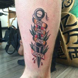 Kunai Tattoo by Kyle Plunkett #kunai #kunaidagger #japaneseknife #japanese #gapfiller #weapon #KylePlunkett