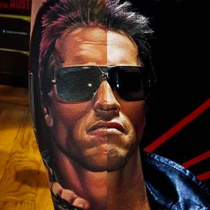 Superb Terminator tattoo done by Bryan Merck. #BryanMerck #tattoo #terminator