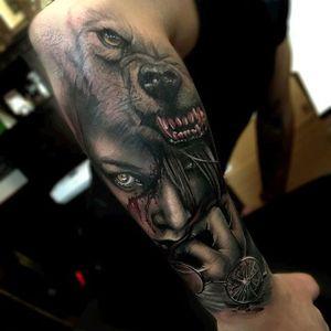 The true heart of horror. Via Instagram sambarbertattoo #sambarber #surrealism #realism #portrait #horror #macabre #wolf