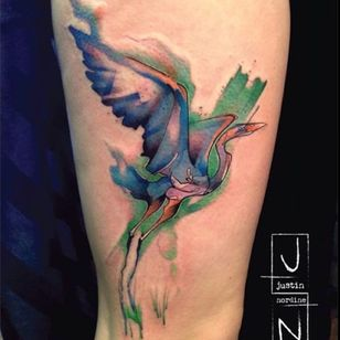 Another long necked beaut. (Via IG - justinnordinetattoos) #Bird #justinnordine #watercolor #art #nature