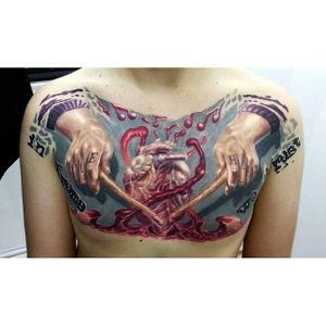 One for the drummers out there. Tattoo by Kobay Kronik. #realism #colorrealism #dummer #drums #music #heart #KobayKronik