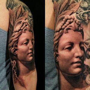 Female Face Tattoo by Sergio Sanchez @sergiosanchezart #butteryshading #detail #blackandgrey #portrait #realistic #SergioSanchez