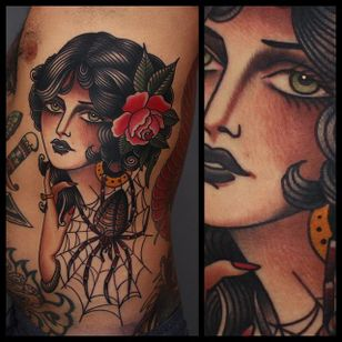Girl and Spider Tattoo by Tony Nilsson #traditionalgirl #traditional #classictattoos #TonyNilsson
