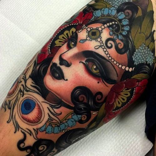 A work in progress by Emily Rose. A perfect piece to add to your neo traditional tattoos by Emily Rose Murray collection #emilyrosemurray #neotraditional