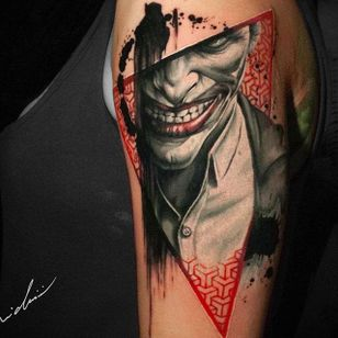 Joker tattoo by Michael Cloutier @cloutiermichael #Michaelcloutier #blackandgrey #blackandgray #blackandred #black #red #trashpolka #realism #joker