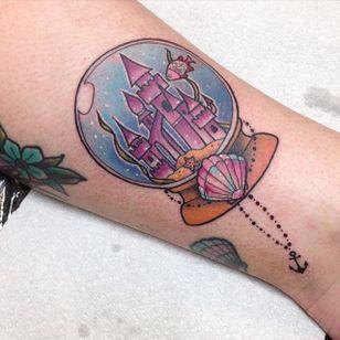 Sandy castle in a snow globe tattoo by Carly Kroll. #snowglobe #glass #castle #girly #CarlyKroll