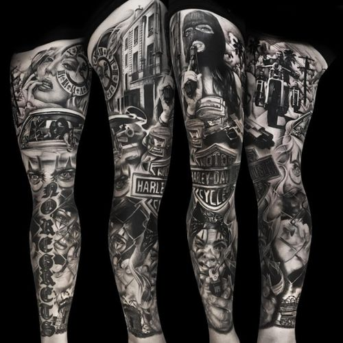 A badass Harley sleeve by Ronstoppable (IG—ronstagram). #blackandgrey #Chicano #Harley #HarleyDavidson #Ronstoppable