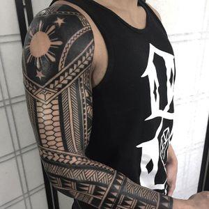 Tribal Tattoo Sleeve by Daniel Frye #tribal #tribaltattoo #tribaltattoos #tribalart #traditionaltribal #polynesian #polynesiantattoo #patternwork #patternworktattoo #DanielFrye