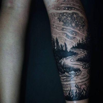 Tattoo by Noel'le Longhaul #NoelleLonghaul #linework #blackwork #dotwork #illustrative #nature #landscape #etching #river #forest #trees #stars #moon