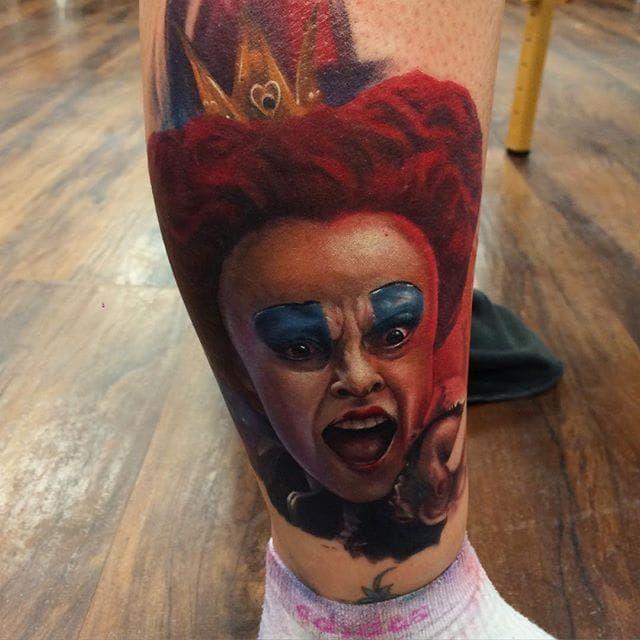 The Red Queen from 'Alice in Wonderland'. Tattoo by Kyle Cotterman. #realism #colorrealism #KyleCotterman #portrait #RedQueen #aliceinwonderland