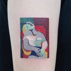 Picasso piece by Zihee #Zihee #finearttattoos #color #Picasso #painting #watercolor #cubism #abstract #portrait #lady #pattern