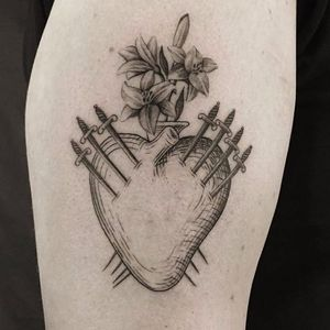 Tarot heart by The Hanged #HiddenMoon #thehanged #tarot #tarottattoo #heart #swords #flowers #lily #love #death #linework #realistic #tattoooftheday