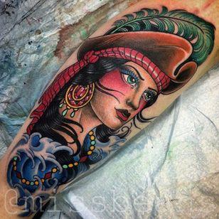 Pirate Tattoo by Jessie Beans #girl #pirate #pirategirltattoo #colorfultattoo #traditional #traditionaltattoo #boldtattoos #brigthtattoos #JessieBeans